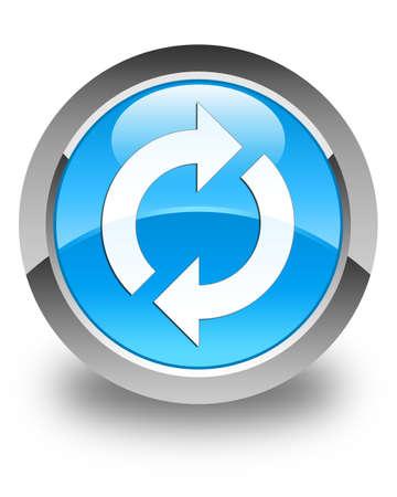 update: Update icon glossy cyan blue round button Stock Photo
