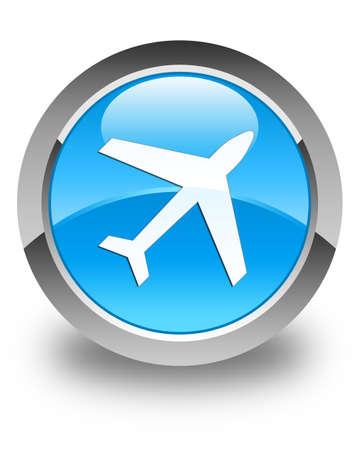 airway: Plane icon glossy cyan blue round button Stock Photo