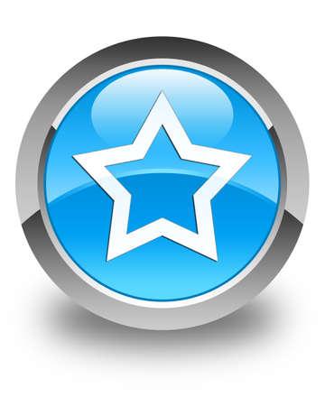 internet love: Star icon glossy cyan blue round button Stock Photo