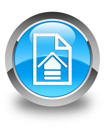 upload: Upload document icon glossy cyan blue round button