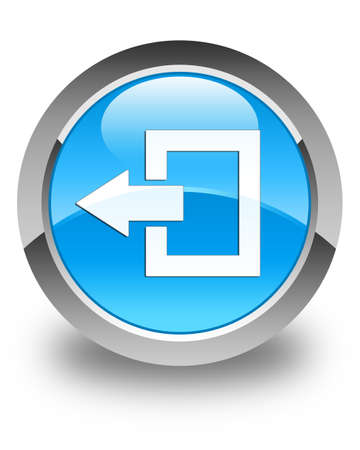 log off: Logout icon glossy cyan blue round button