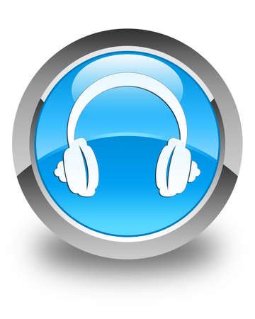headphone: Headphone icon glossy cyan blue round button Stock Photo