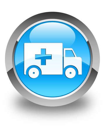 blue button: Ambulance icon glossy cyan blue round button Stock Photo