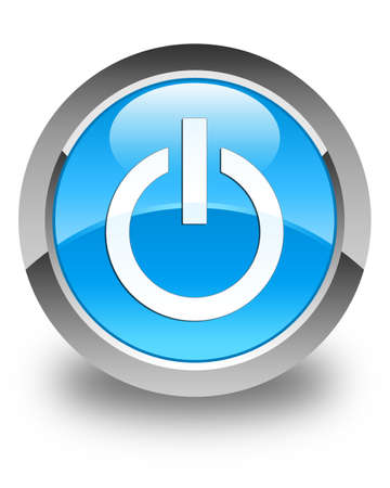 Power icon glossy cyan blue round button