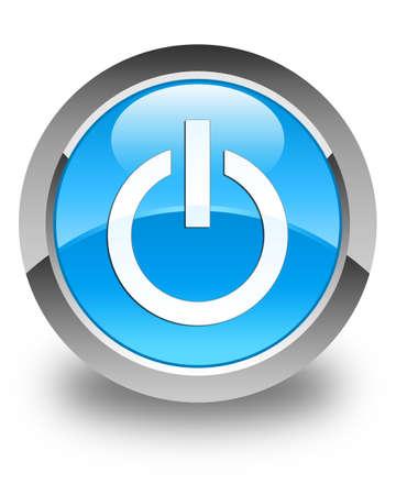 Power-Symbol glänzend Cyan blau runde Taste