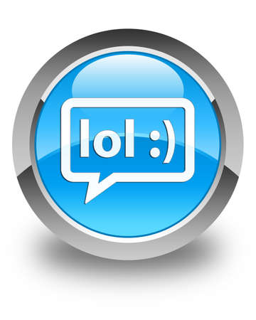 speak out: LOL bubble icon glossy cyan blue round button