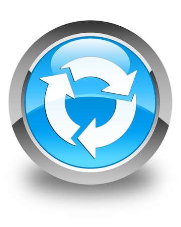 refresh button: Refresh icon glossy cyan blue round button