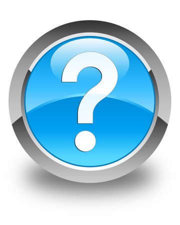 question mark icon: Question mark icon glossy cyan blue round button Stock Photo