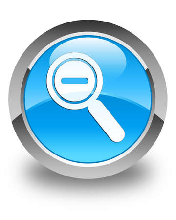 focus on shadow: Zoom out icon glossy cyan blue round button