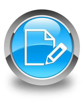 edit: Edit document icon glossy cyan blue round button Stock Photo