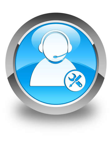 technical assistant: Tech support icon glossy cyan blue round button
