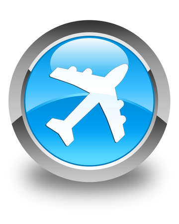 airway: Plane icon glossy cyan blue round button Stock Photo