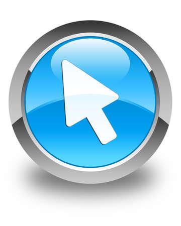 cyan: Cursor icon glossy cyan blue round button Stock Photo