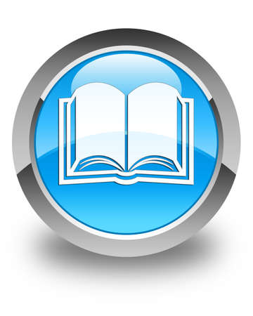 Book icon glossy cyan blue round button Stock Photo