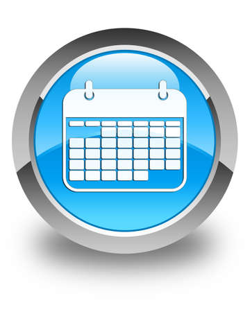 schedule appointment: Calendar icon glossy cyan blue round button