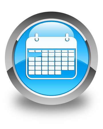 oficina: icono de calendario cian brillante botón redondo de color azul