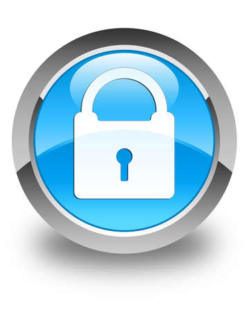 defend: Padlock icon glossy cyan blue round button Stock Photo