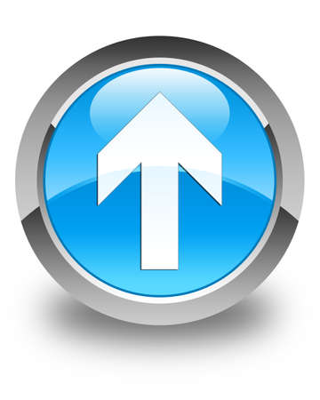 upload: Upload arrow icon glossy cyan blue round button