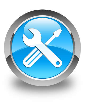 preference: Tools icon glossy cyan blue round button Stock Photo