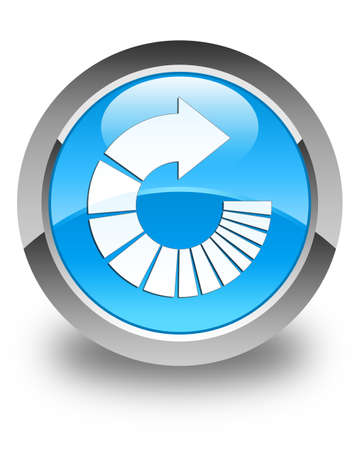 to rotate: Rotate arrow icon glossy cyan blue round button Stock Photo