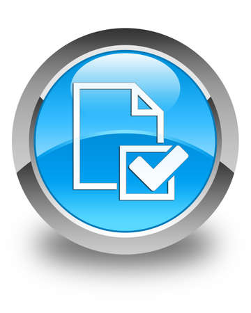 positive note: Checklist icon glossy cyan blue round button