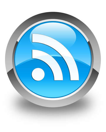 rss icon: RSS icon glossy cyan blue round button