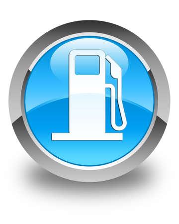 dispenser: Fuel dispenser icon glossy cyan blue round button