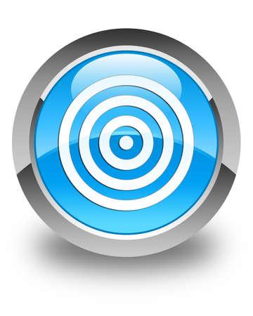 bullseye: Target icon glossy cyan blue round button Stock Photo
