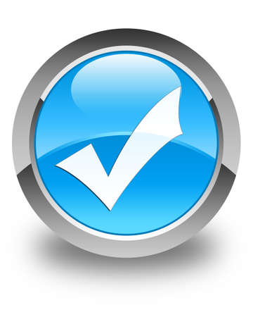 validation: Validation icon glossy cyan blue round button Stock Photo