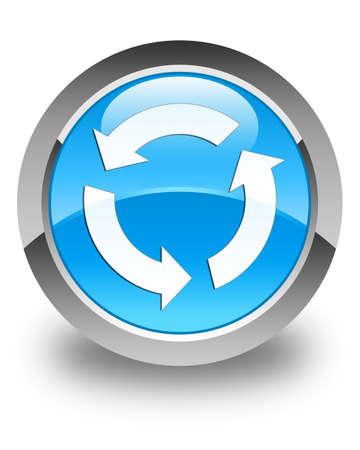 refresh icon: Refresh icon glossy cyan blue round button
