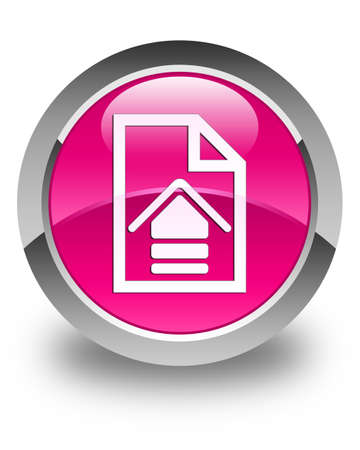 upload: Upload document icon glossy pink round button