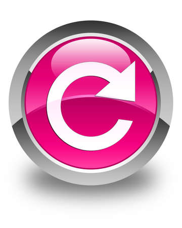 reply: Reply rotate icon glossy pink round button