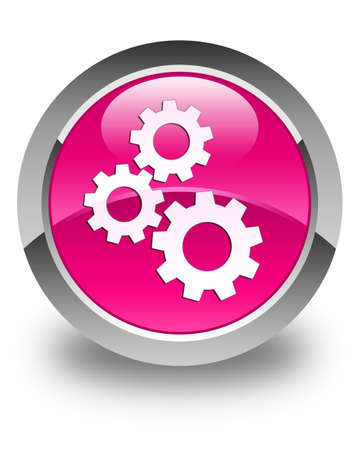 preference: Gears icon glossy pink round button Stock Photo