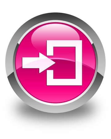 login: Login icon glossy pink round button