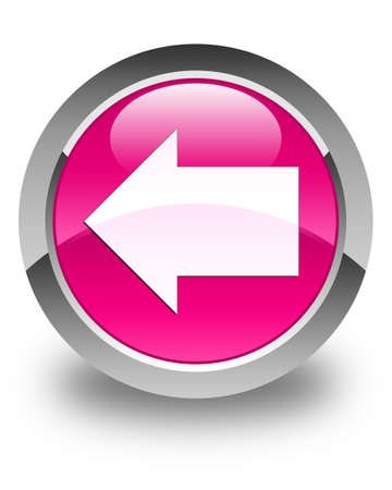 round back: Back arrow icon glossy pink round button Stock Photo