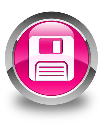 floppy disk: Floppy disk icon glossy pink round button Stock Photo