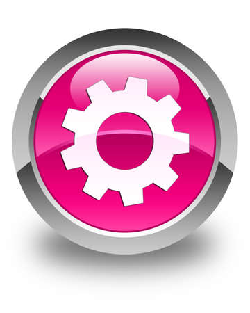preference: Process icon glossy pink round button