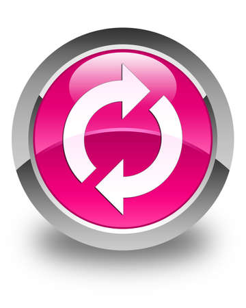 update: Update icon glossy pink round button Stock Photo
