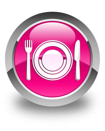 food plate: Food plate icon glossy pink round button