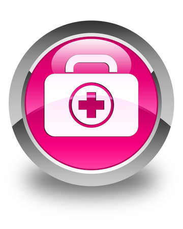 first aid kit: First aid kit icon glossy pink round button Stock Photo