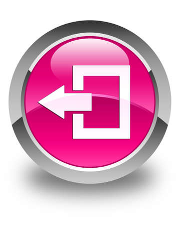 logout: Logout icon glossy pink round button
