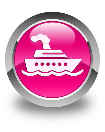 cruise ship icon: Cruise ship icon glossy pink round button