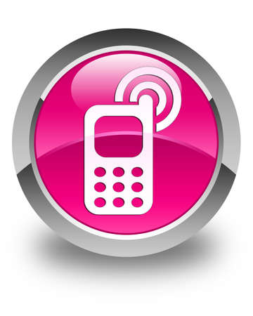 ringing: Cellphone ringing icon glossy pink round button