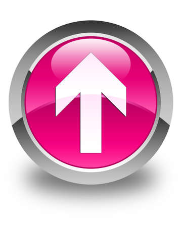 upload: Upload arrow icon glossy pink round button Stock Photo