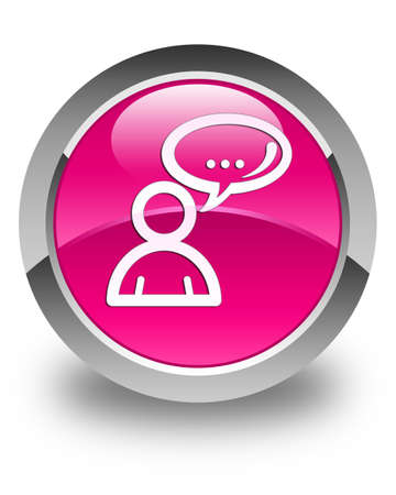 family discussion: Social network icon glossy pink round button