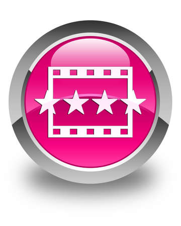 reviews: Movie reviews icon glossy pink round button Stock Photo