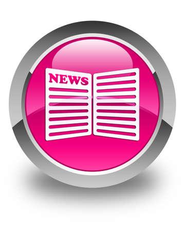newspaper icon: Newspaper icon glossy pink round button