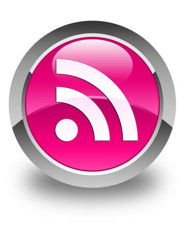 rss icon: RSS icon glossy pink round button Stock Photo