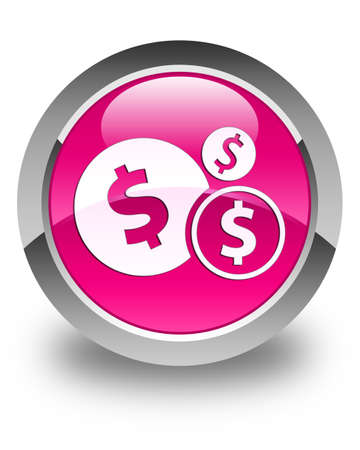 dollar sign icon: Finances (dollar sign) icon glossy pink round button