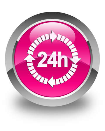 24 hours: 24 hours delivery icon glossy pink round button